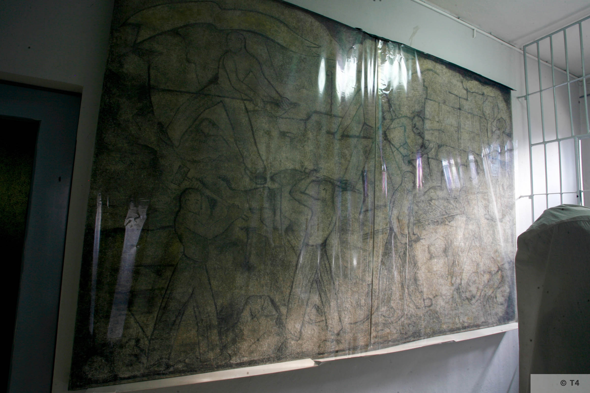 Recovered frescos in Auschwitz Birkenau State Museum. 2006 T4 3687