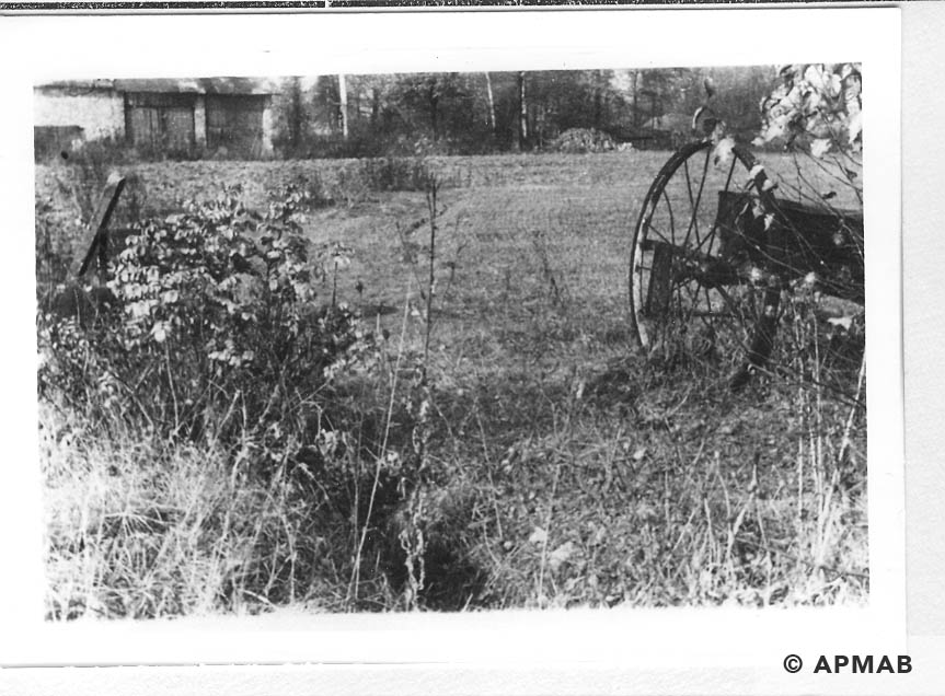 Remains of a barn that is part of the camp's farm. 1955 APMAB 22273 3