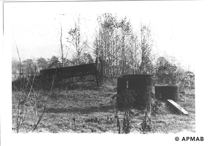Remains of farm equipment of former sub camp farm. 1955 APMAB 22273 2