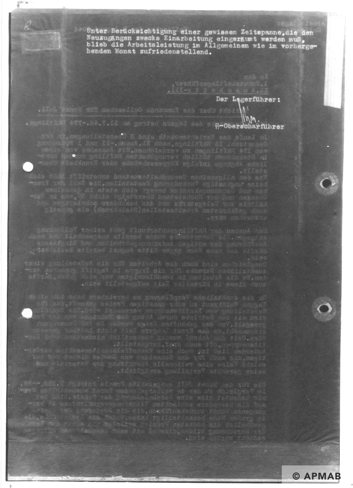 Report on Golleschau sub camp July 1944 APMAB nr inw. 30523 str. 37