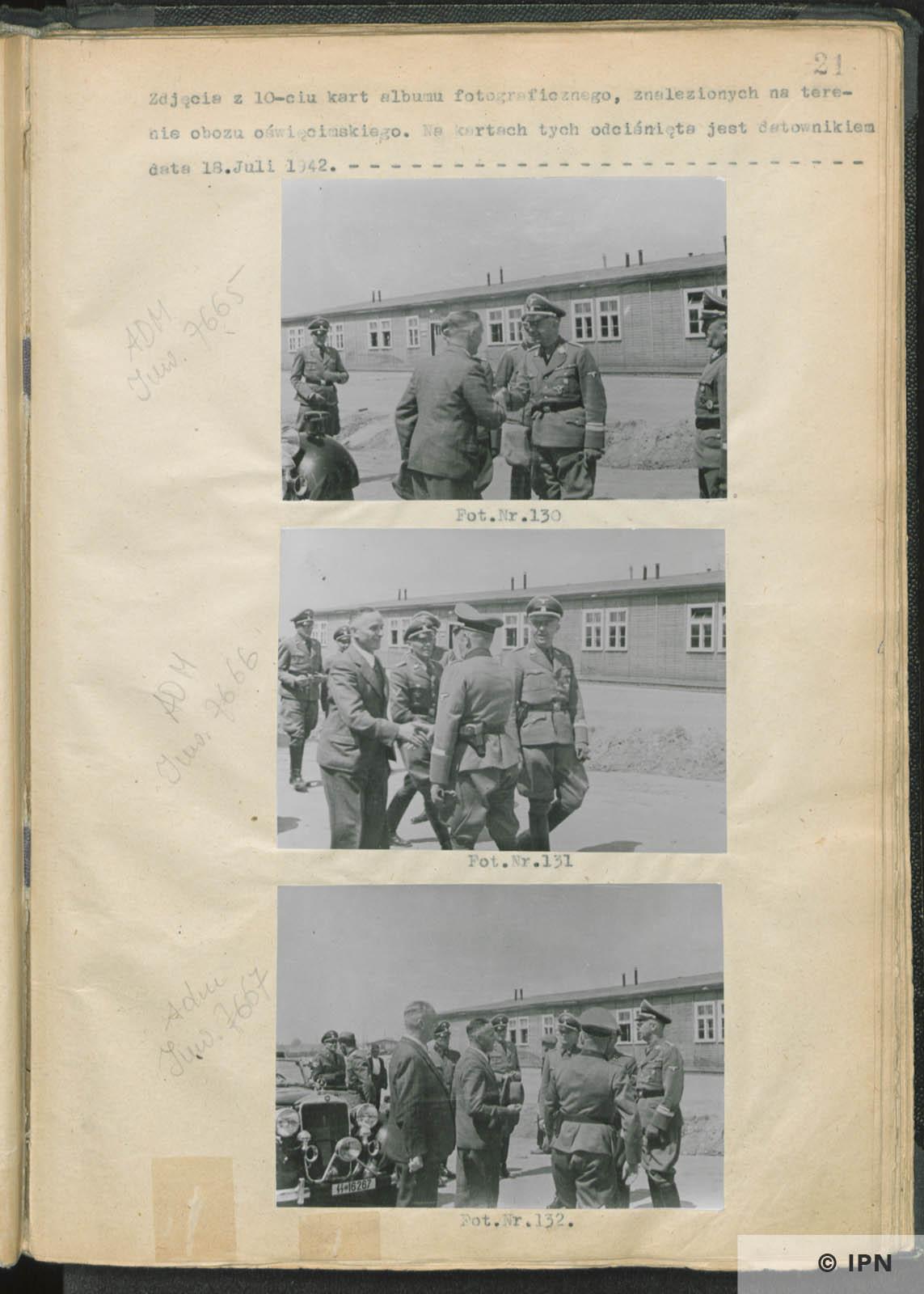 SS Reichsführer Heinrich Himmler visits IG Farben plant at Monowitz. July 17 to 18 1942. IPN GK 196 97 0026