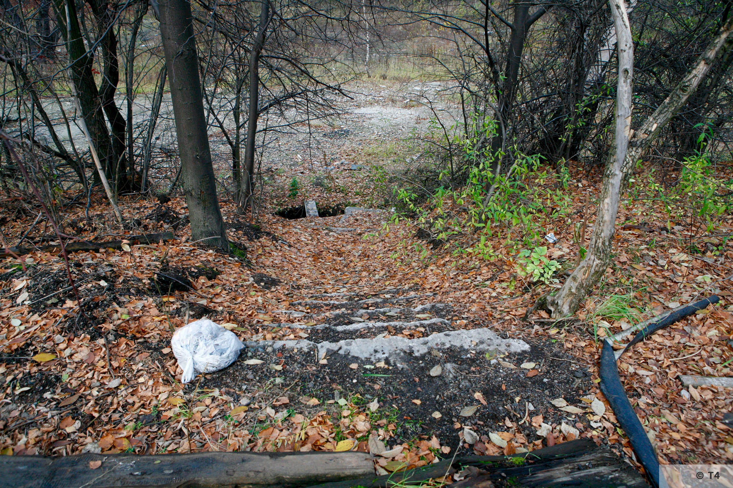 Stairs from steel works down to the sub camp and labour camp. 2006 T4 4802