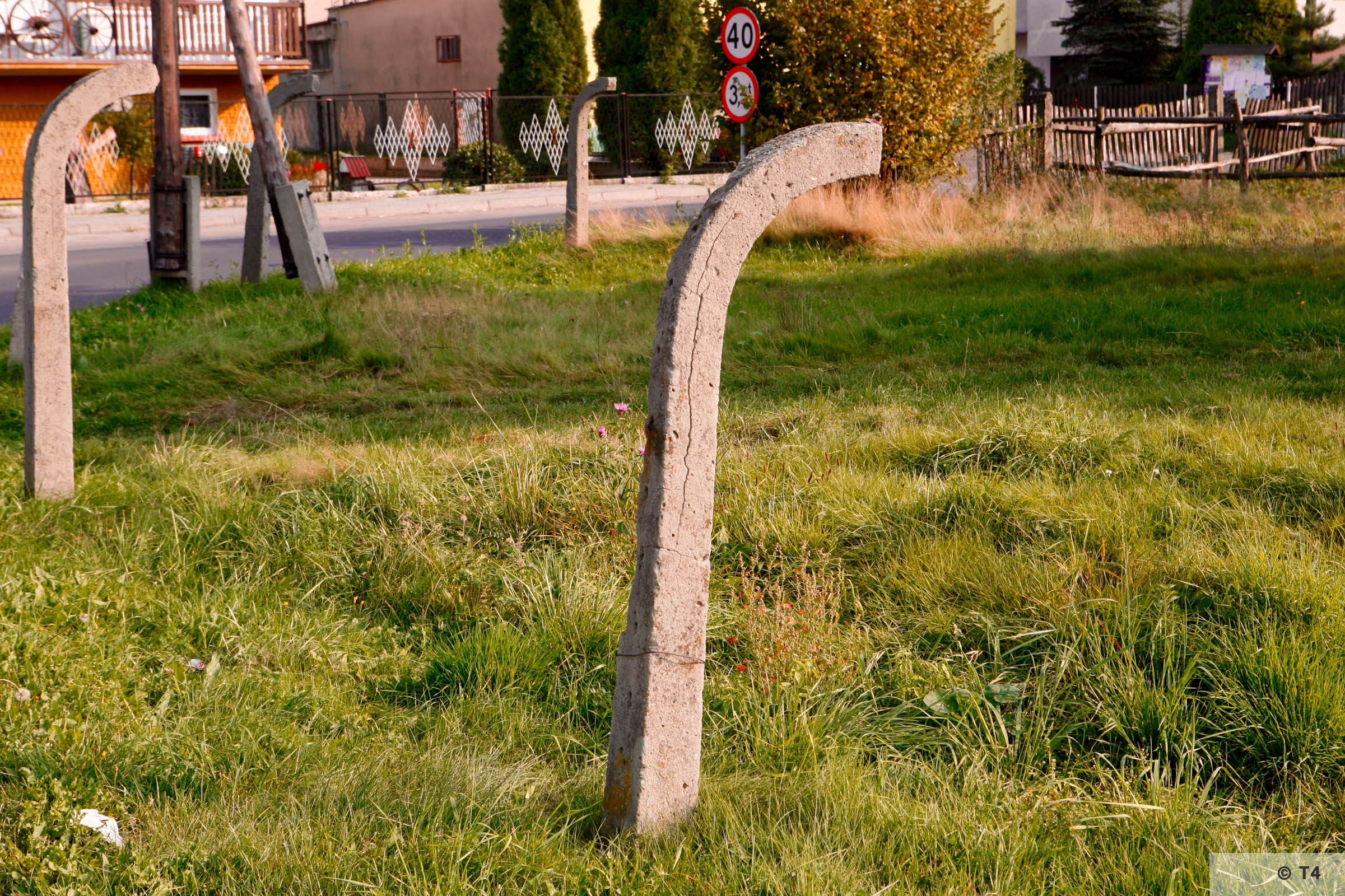 Surviving fence posts from the former Frauenlager. 2006 T4 2396