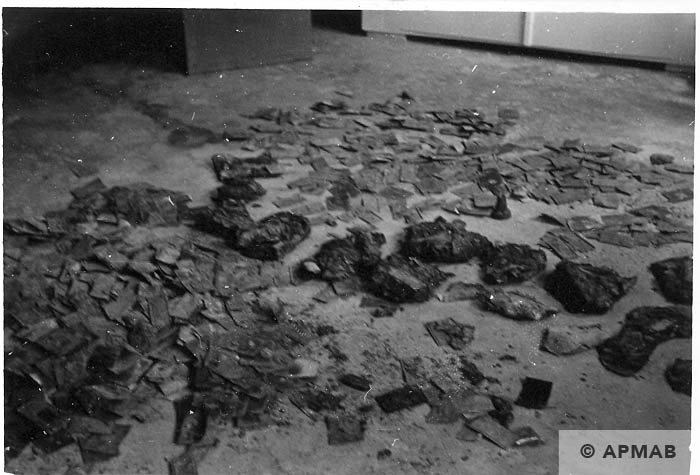 Tablets dug up in the sub camp drying. 1966 APMAB 10048