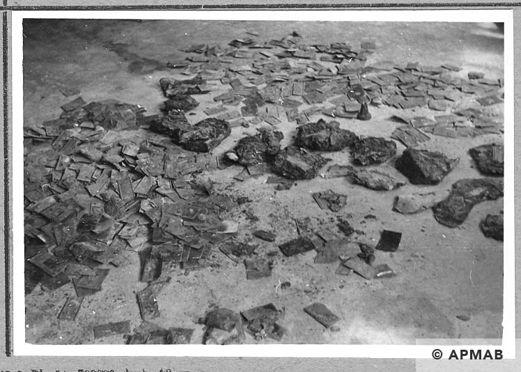 Tablets dug up in the sub camp drying. 1966 APMAB 10049