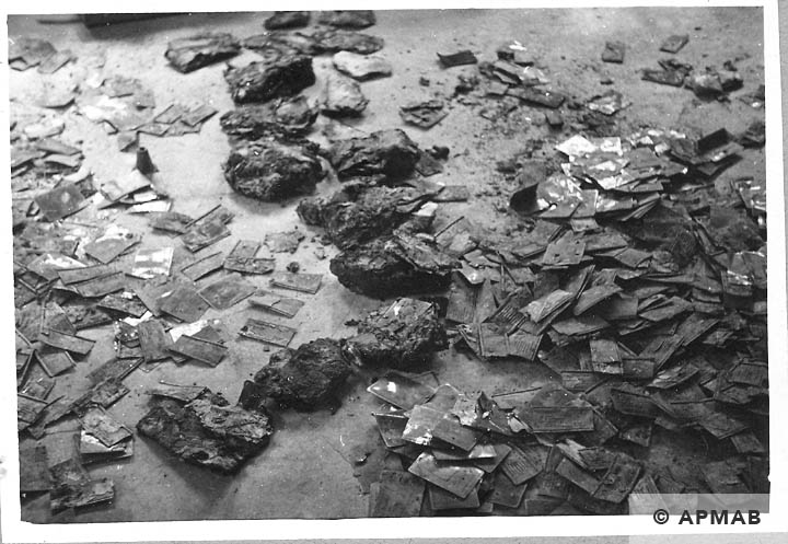 Tablets dug up in the sub camp drying. 1966 APMAB 10050