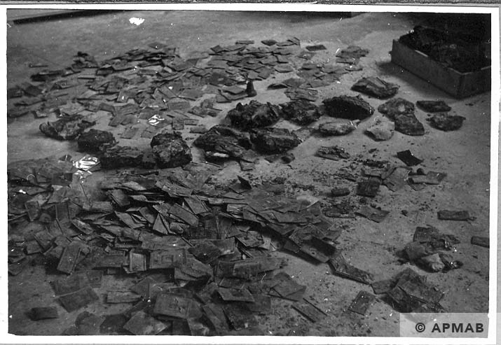 Tablets dug up in the sub camp drying. 1966 APMAB 10051