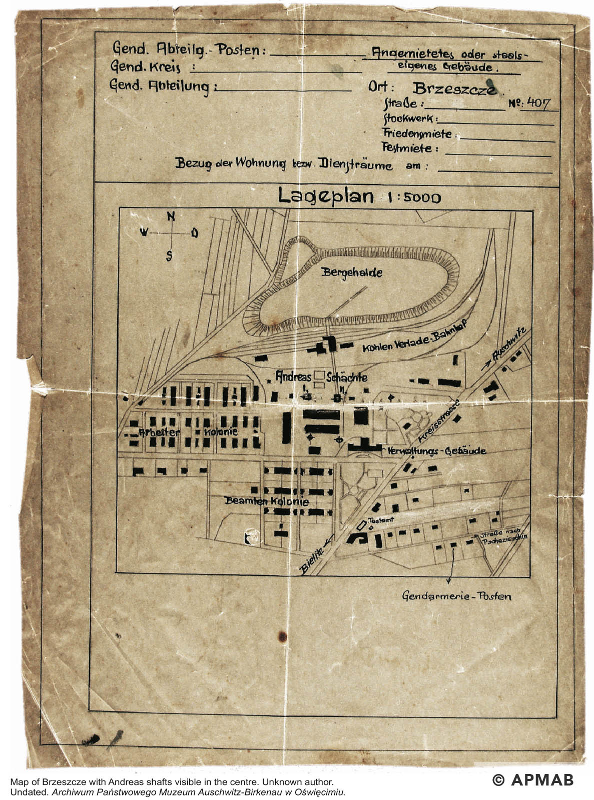Techincal drawing of Brzeszcze area. APMAB
