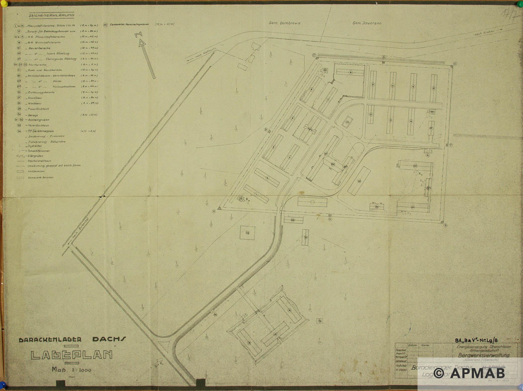 Techincal drawing of Neu-Dachs sub camp. APMAB