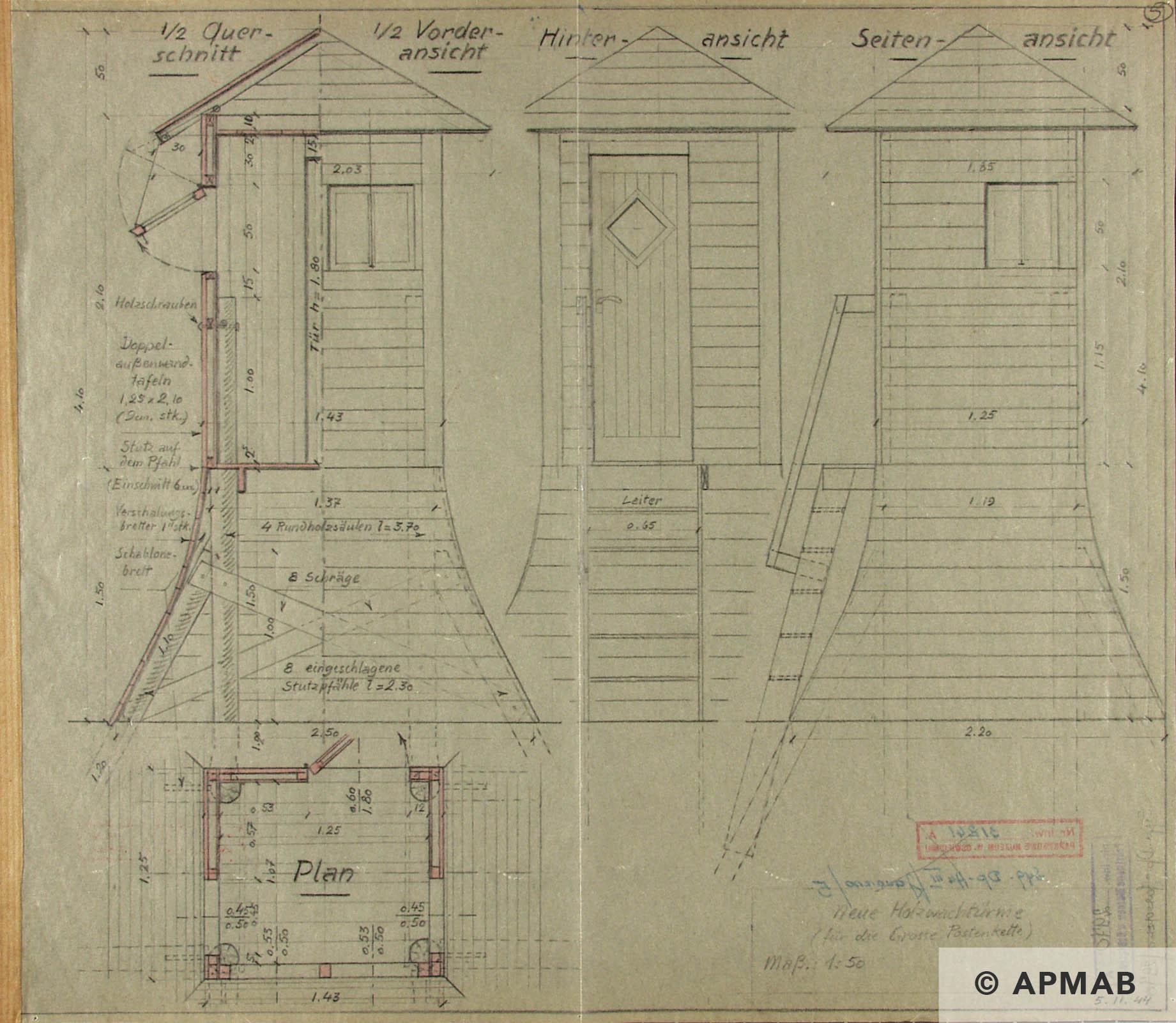 Techincal drawing of guard tower 3. APMAB