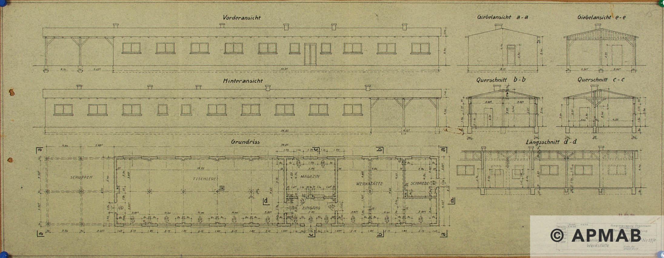 Techincal drawing of workshop barrack. APMAB