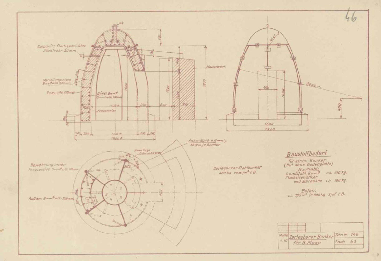 Techincal plan for 3 man air raid bunker. Archiwum Panstwowe w Katowicach