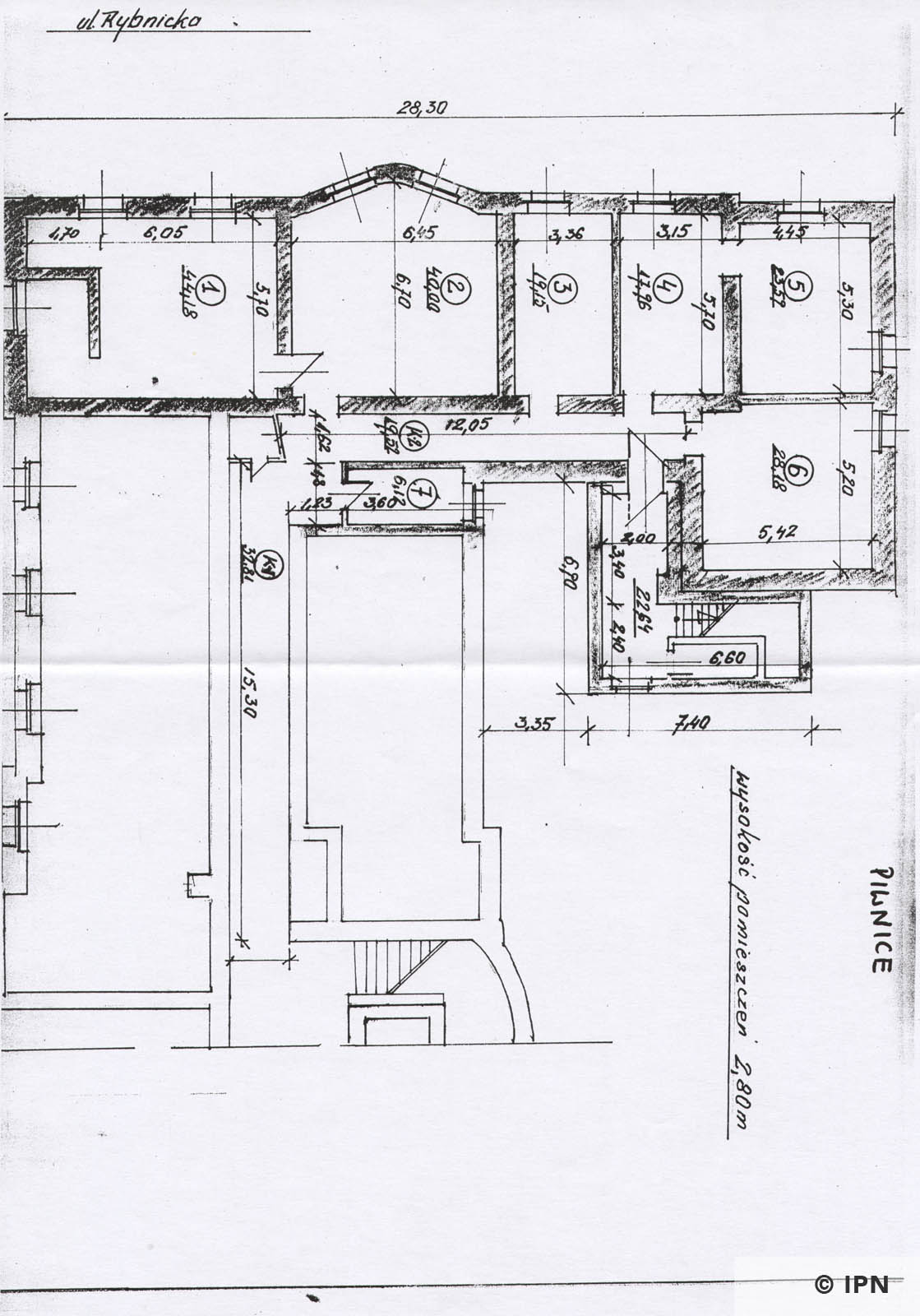 Technical drawing of Gestapo Headquarters in Katowice IPN