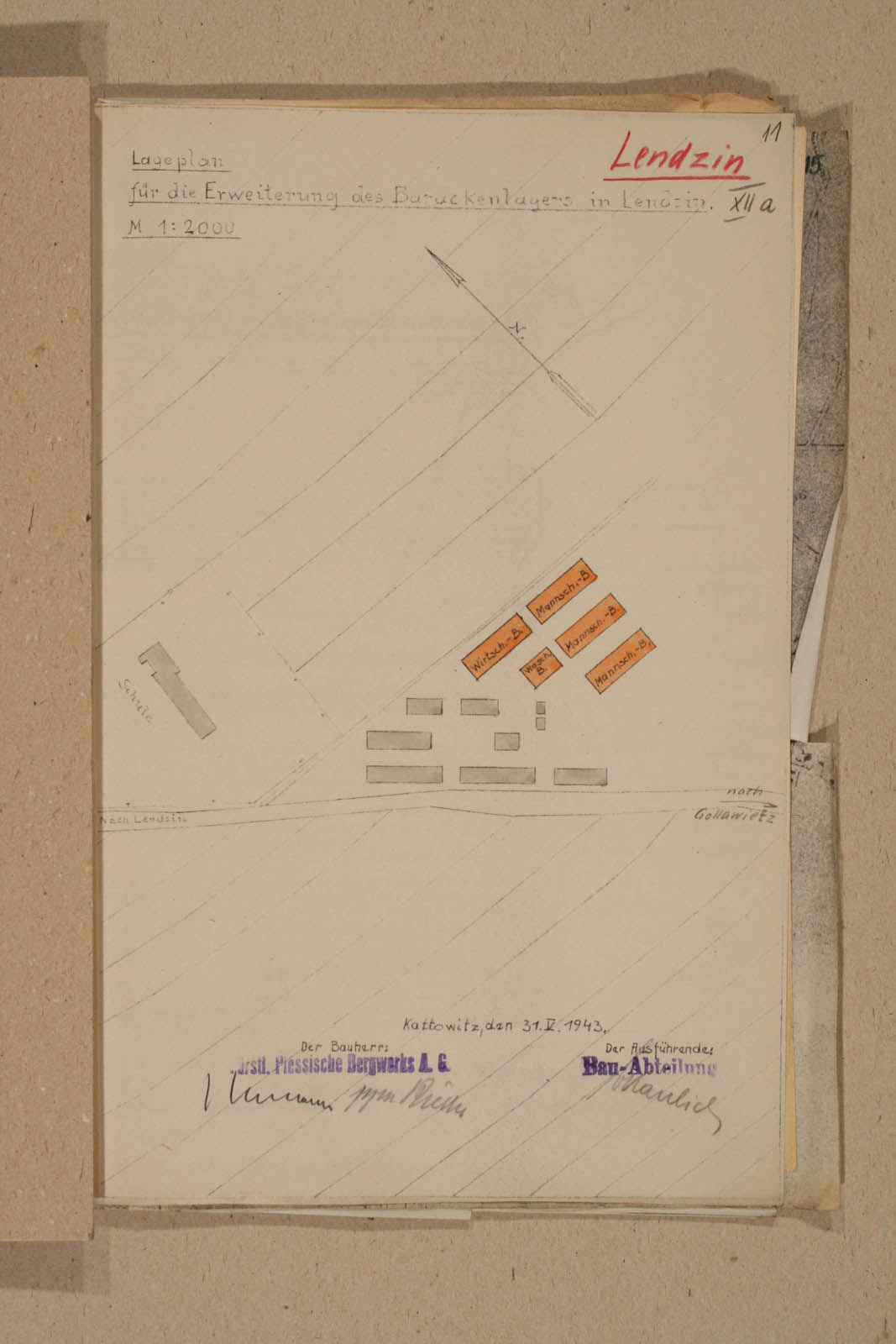 Technical drawing of Labour camp in Ledziny. Subsequently Lager Heimat. Archiwum Panstwowe w Katowicach Land Pl 12 120 708 11