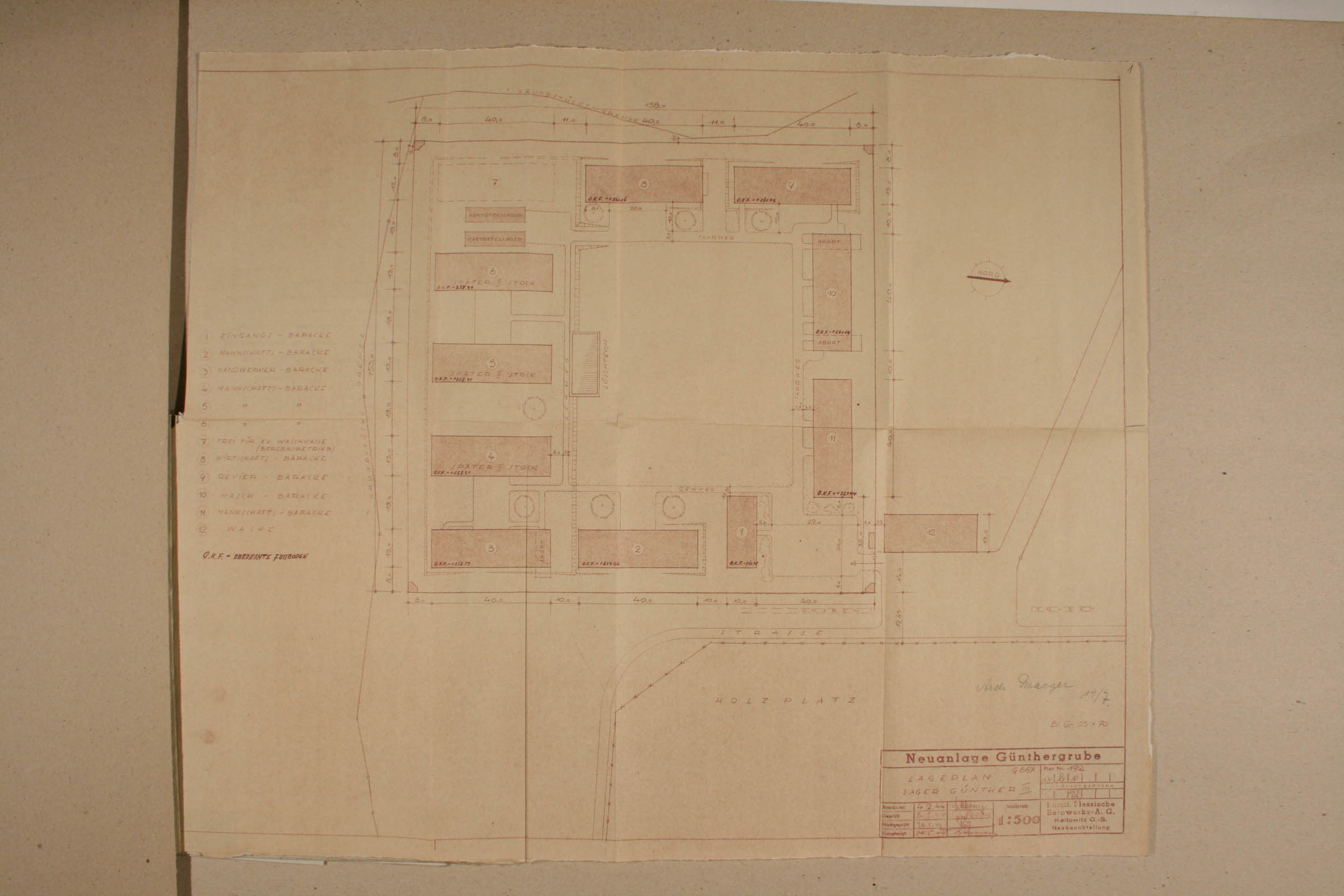 Technical drawing of Lager Günther III. Archiwum Panstwowe w Katowicach Land Pl 12 120 708 01