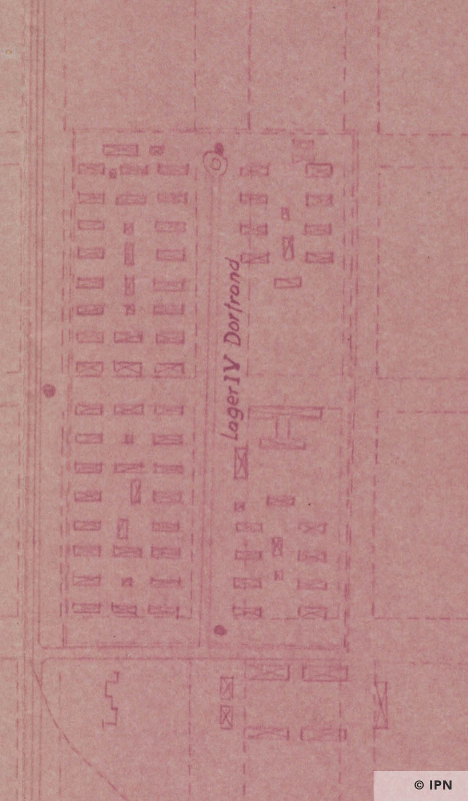 Technical drawing of Lager IV Dorfrand (Monowitz) from IG Farben AG Werk Auschwitz Plan. 20 August 1944 IPN GK 196 101 0041