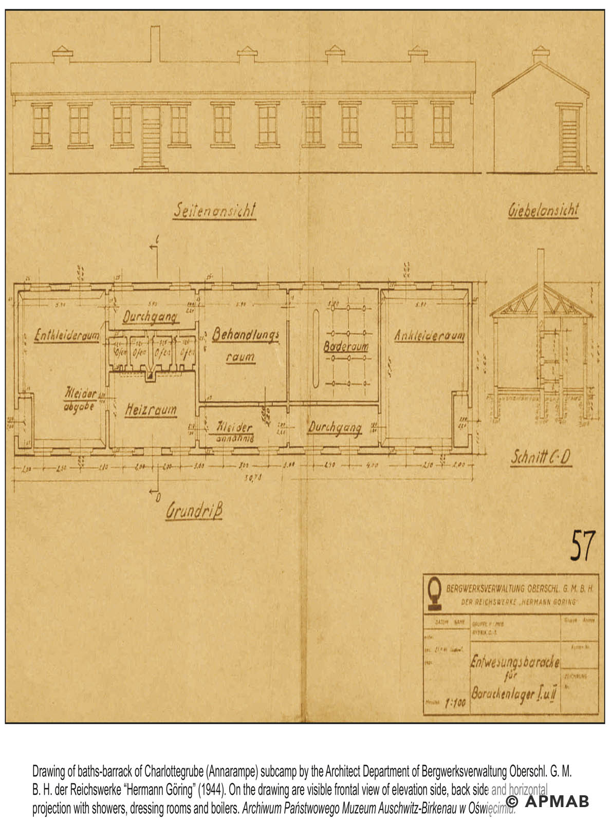 Technical drawing of bath house in Annarampe camp by the Bergswerkverwaltung. APMAB