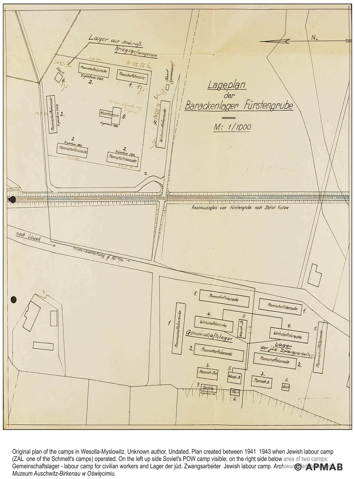 Technical drawing of camps in Wesola. APMAB