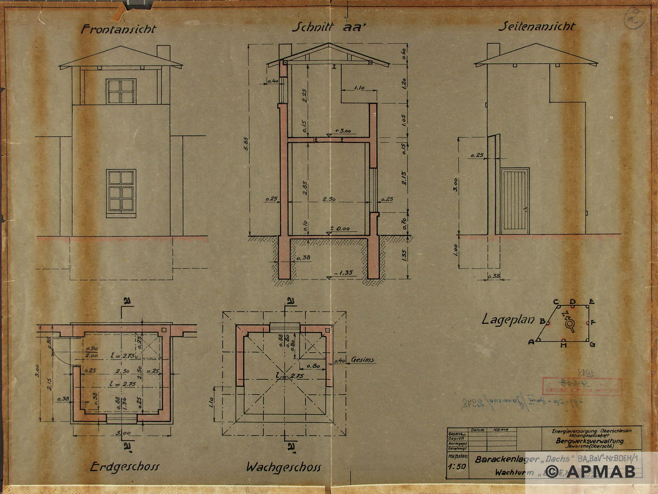 Technical drawing of guard tower. APMAB