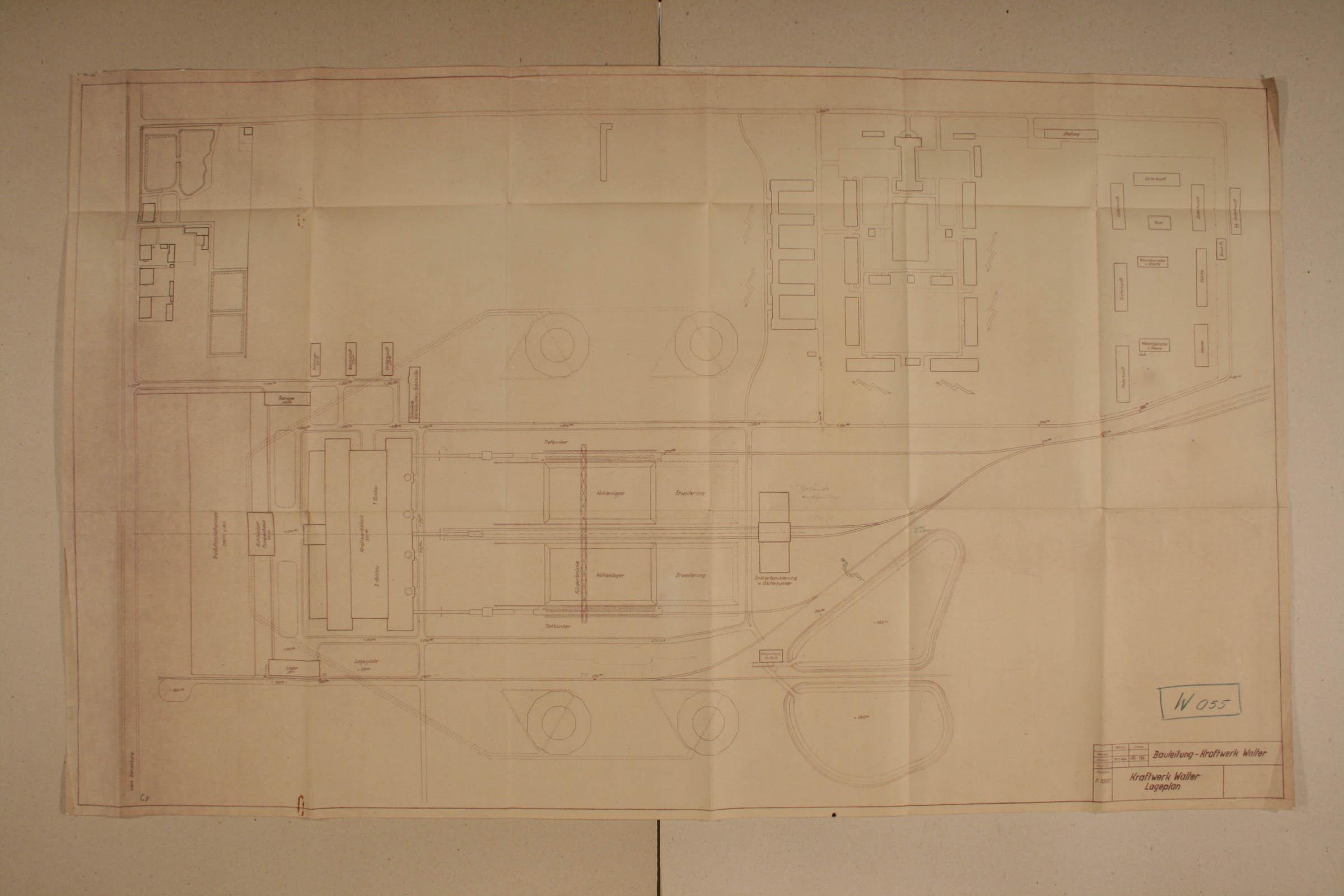 Technical drawing of sub camp Lagischa and Kraftwerk Walter Archiwum Panstwowe w Katowicach Land 879 70 1 19