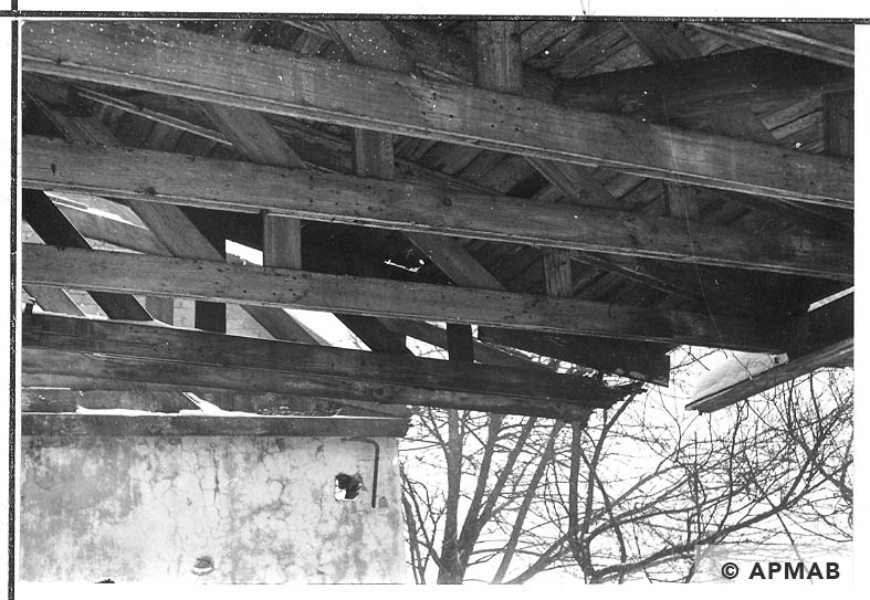 The roof frame of the camp kitchen. 1968 APMAB 13965