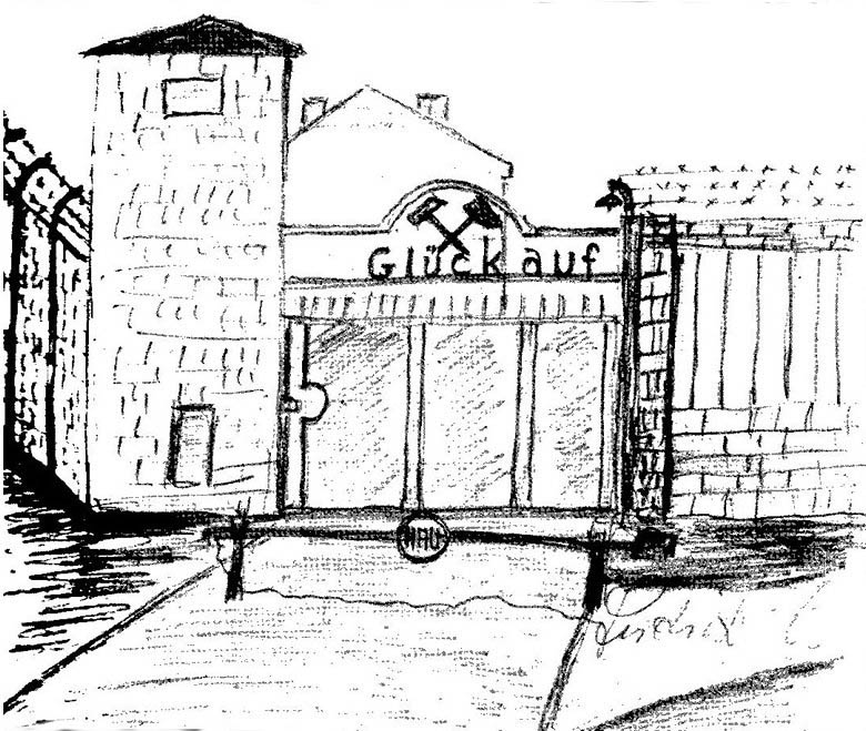 This is a drawing of what the entrance to Lager Sud during the time of its operation