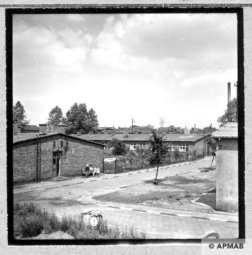 Two barracks built after the war on the foundations of original barracks of the sub camp. 1967 APMAB 11032