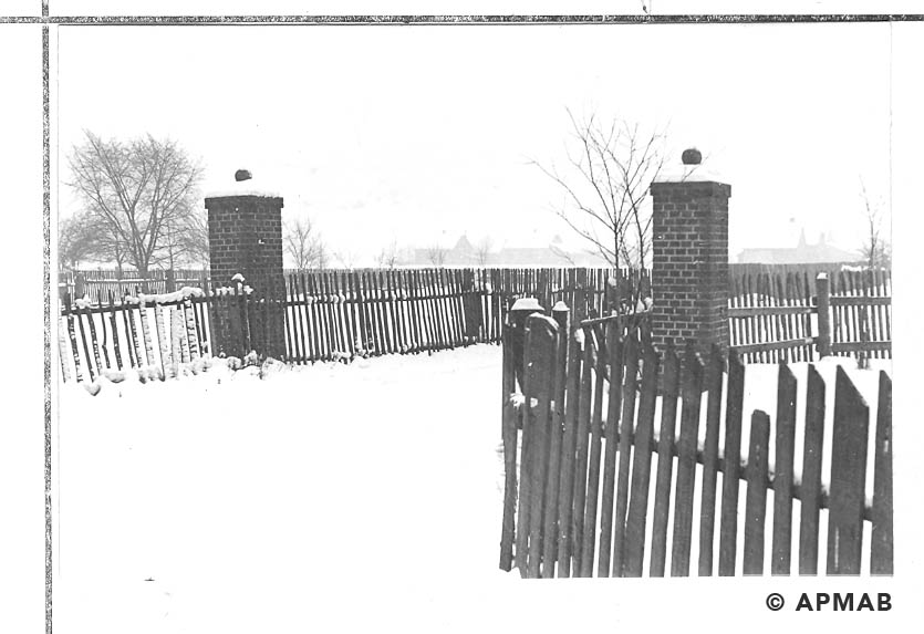 Two columns of bricks traces of the former gate inside the camp. 1968 APMAB 13961