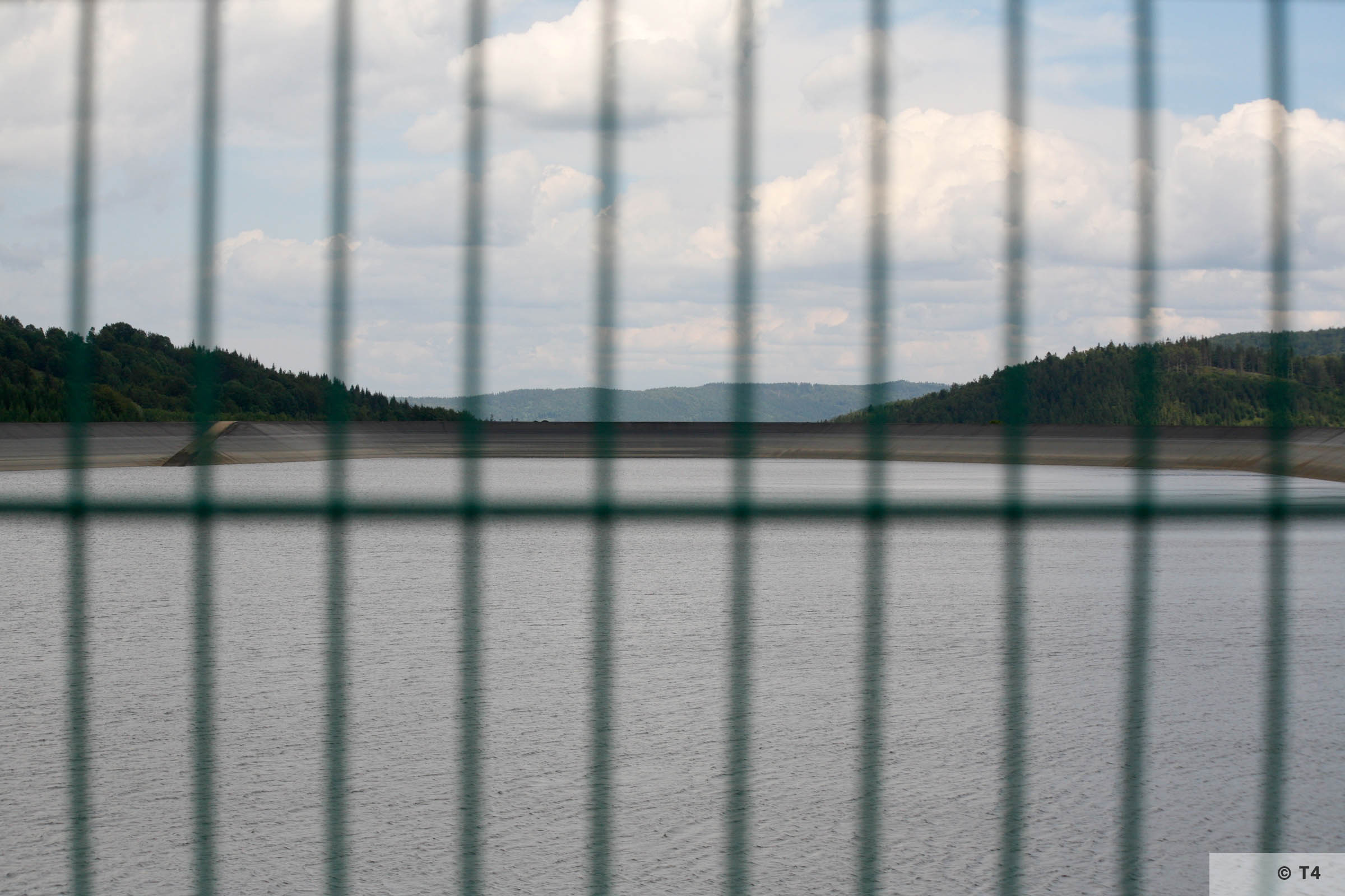 View of artificial lake and dam. 2007 T4 9248