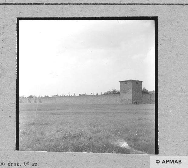 View of wall from South side with guard tower. 1963 APMAB 5697