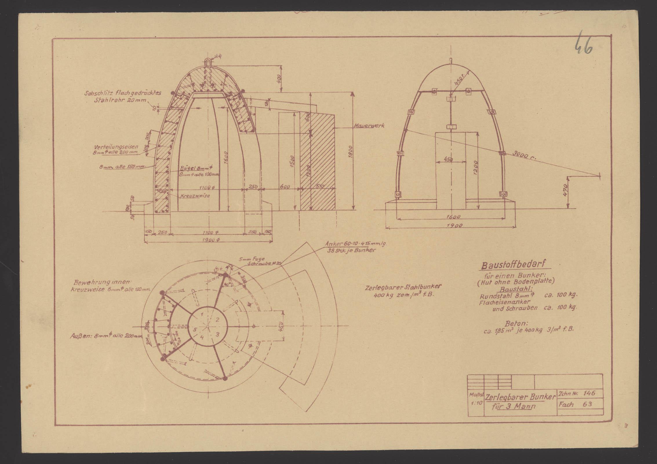 Zerlegbarer Bunker for 3 men. State Archive Katowice